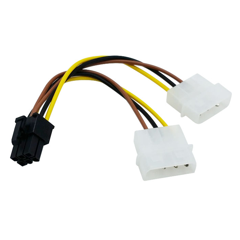2*4Pin Molex IDE To 6Pin PCI-E Graphic Card Power Supply Cable Adapter PC Video Card Connector Cable Converter Cord