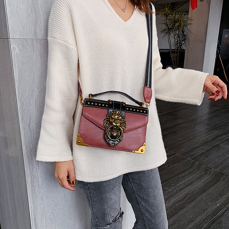 H7363680f8b0c41d2a93f4cefc9fb946cf - Female Fashion Handbags Popular Girls Crossbody Bags Totes Woman Metal Lion Head  Shoulder Purse Mini Square Messenger Bag