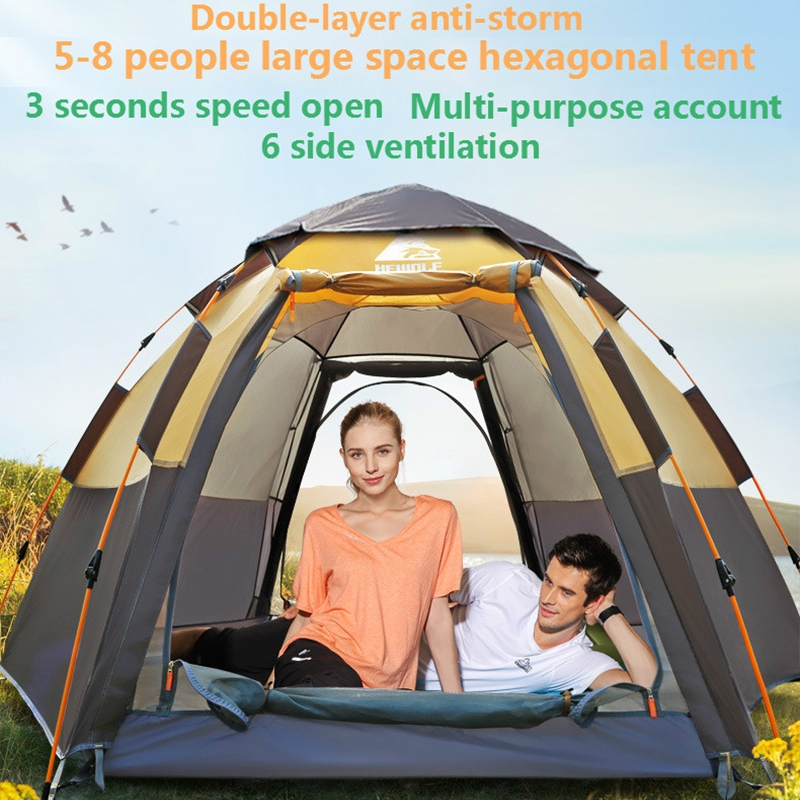 Outdoor Camping Tent Hexagonal Fully Automatic Rain-proof Wind-proof Flood Resistance Wilderness Explorer Tent Classic Style