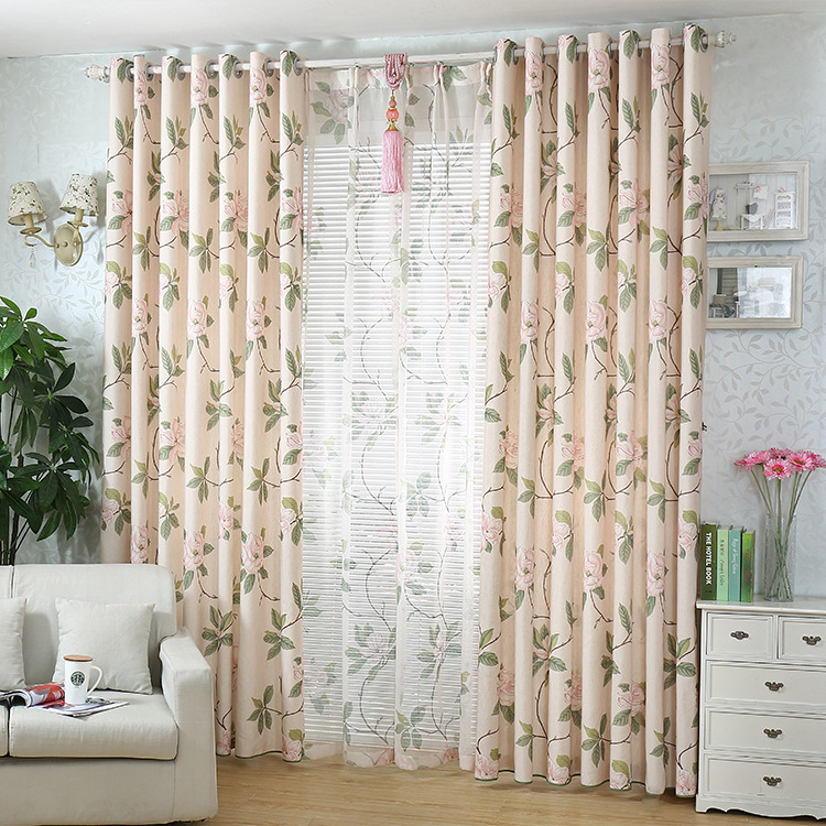 Semi-shading Of Cotton, Hemp And Peony In Pastoral Areas Curtains For Living Dining Room Bedroom.