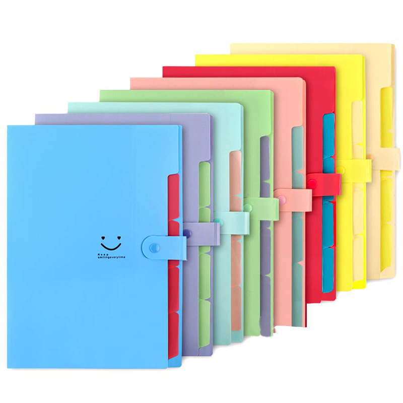 HOT-8Pcs Expanding File Folders, 5 Pockets A4 Letter Size Snap Closure Plastic Accordion Document Organizer For School And Offic