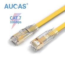Sd Aucas kabel Ethernet RJ45 Cat7 RJ45 przewód Lan tarcza sieci kabel płaski Cat7 Patch Cord dla Router bezprzewodowy PC Laptop CAT7 tanie tanio CN (pochodzenie) Kabel adaptera Zdjęcie AC71FPCFPYE Network Cable Flat Patch Cable Cord Cat7 Computer Cable 50cm 1m 3m 5m 8m 10m 15m