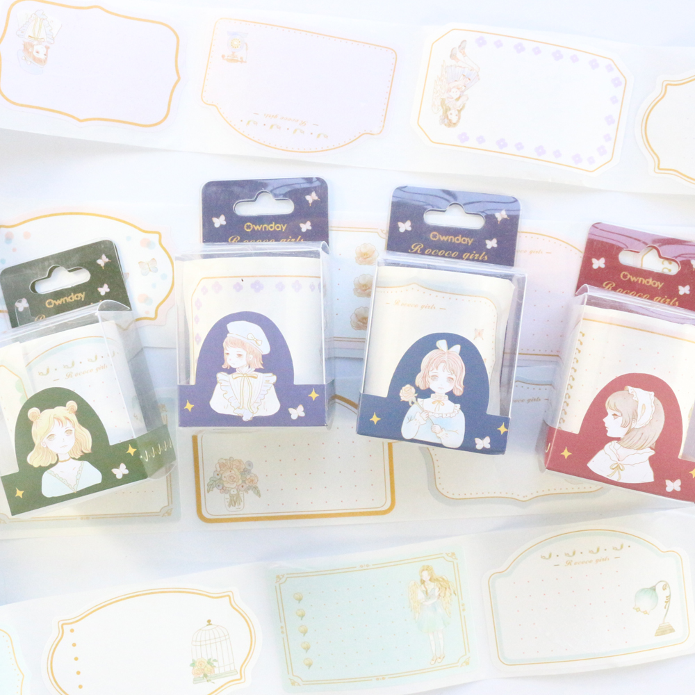 Domikee Cute Kawaii Korean Cartoon Girls Design Sticky Rolls Note Pad Set School Student Index Label Mug Memo Pad Stationery