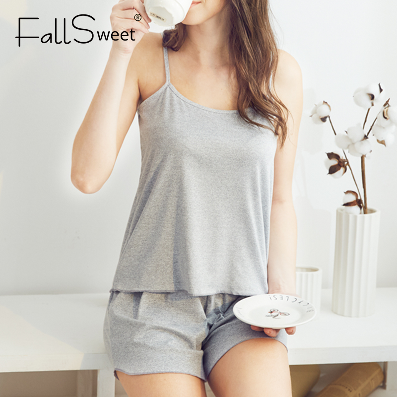 FallSweet Pajamas For Women Summer Cotton  Sleepwear Sexy Pyjamas Set  Tank Top Shorts Nightwear