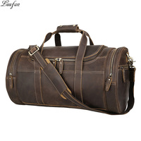 Big Capacity Leather man Travel Bags crazy horse leather luggage Weekend Travel Duffel large business man handbag shoulder bag