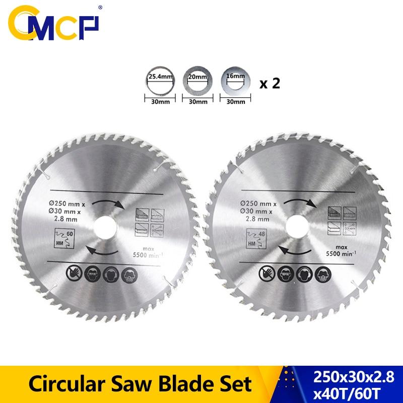 CMCP 2pcs Circular Saw Blade 250x2.8x30mm 48T/60T TCT Saw Blade Carbide Wood Cutting Disc Saw Blade For Power Tool