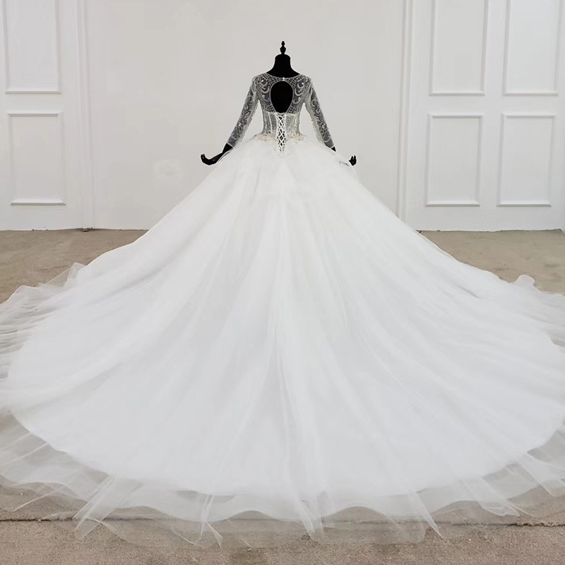 Image 2 - HTL1101 like white wedding dress long sleeve o neck lace up open back crystal corset bridal gowns European and American styleWedding Dresses   -