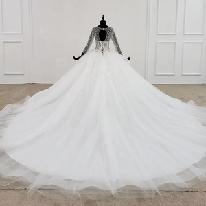 Image 2 - HTL1101 like white wedding dress long sleeve o neck lace up open back crystal corset bridal gowns European and American style