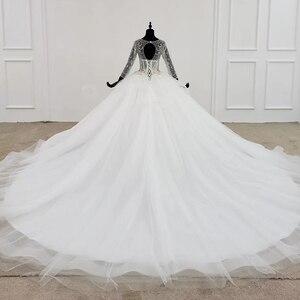 Image 2 - HTL1101 مثل فستان الزفاف الأبيض طويلة الأكمام س الرقبة الدانتيل يصل مفتوحة الظهر الكريستال مشد زي العرائس النمط الأوروبي والأمريكي