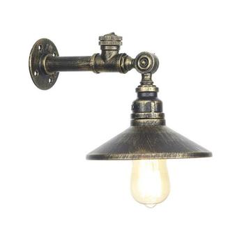 American Europe style loft stairs Iron Pipe wall lights with switch black Rustic Bronze Gold Silver metal shade sconces