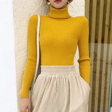 Womens Autumn Sweaters Slim Soft Long Sleeve Turtleneck Knit  Pullover Tops Sexy Stretch Fashion Wild Sweater