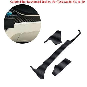 Para Tesla Model X S 16-20 salpicadero de coche de fibra de carbono pegatinas adhesivo Protector de envoltura