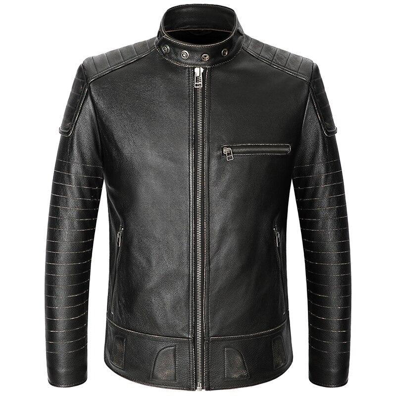 2019 Vintage Black Men American Motorcycle Leater Jacket Plus Size 3XL Genuine Cowhide Spring Slim Fit Biker Coat FREE SHIPPING
