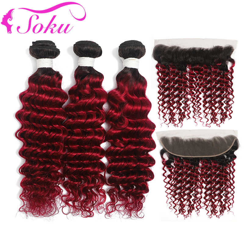 Deep Wave Ombre Bundles With Closure 1B 99J/Burgundy Brazilian Ombre Human Hair Bundles With Frontal 13x4 SOKU Non-Remy Hair