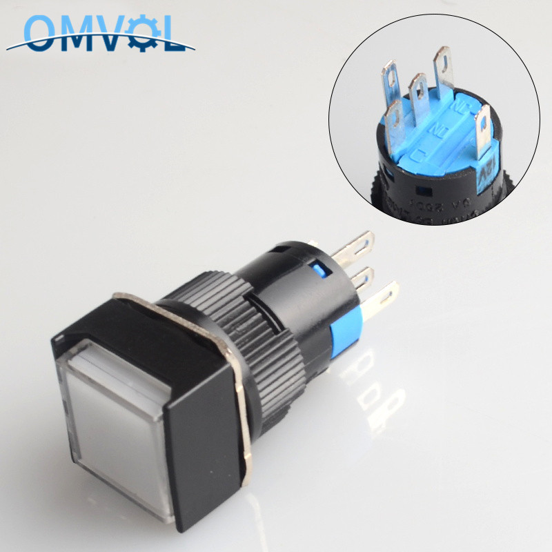 16mm momentary & Self-locking  push button switch with LED lamp square button