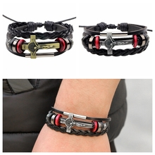 FUNIQUE Vintage Lace-up Leather Bracelet Christ Bible Cross