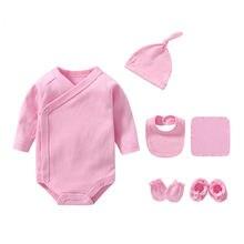8 pçs sólido bebê recém-nascido meninas bodysuits manga longa recém-nascido pijamas outfits infantil gilrs conjuntos de roupas