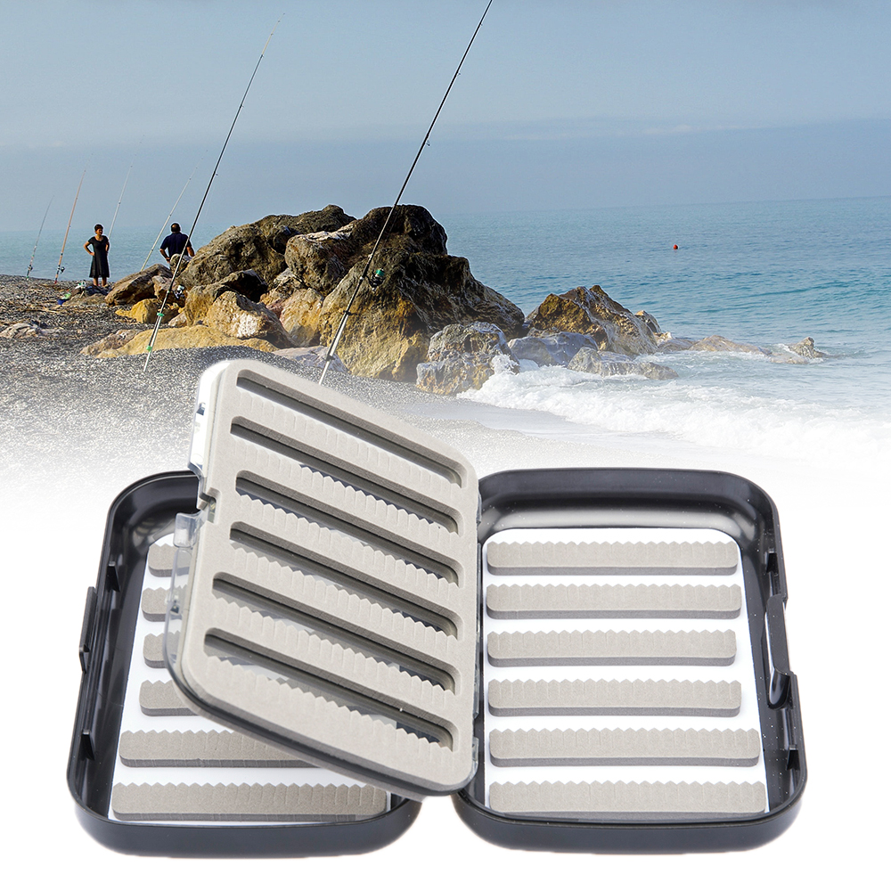 Hook-Tackle-Storage Fishing-Bait-Box Plastic Waterproof Foam 4-Compartment Double-Sides title=