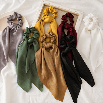 2021 Women Chiffon Long Ribbon Scrunchies Elastic Hair Bands Hair Rope Ring Ponytail Holder Sweet Girls Fashion Hair Accessories image