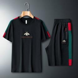 Mannen Casual Pak Geborduurd Korte Mouwen T-shirt Twee Stuk Fitness Sport Pak Korte Mouw T-shirt + shorts 2 Delige Set