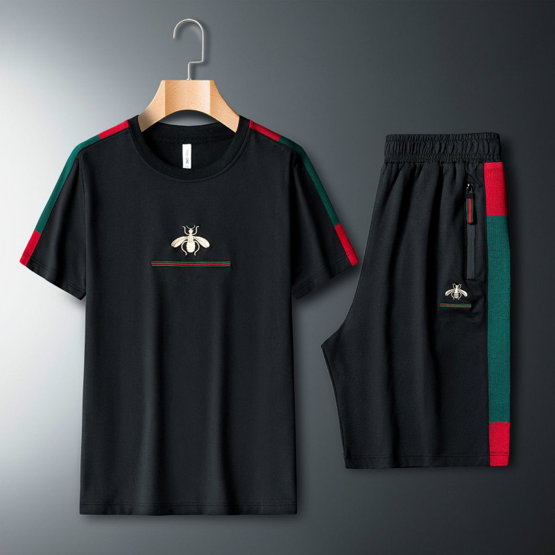 Men's Casual Suit Embroidered Short-sleeved T-shirt Two-piece Fitness Sports Suit Short Sleeve T Shirt + Shorts 2 Piece Set