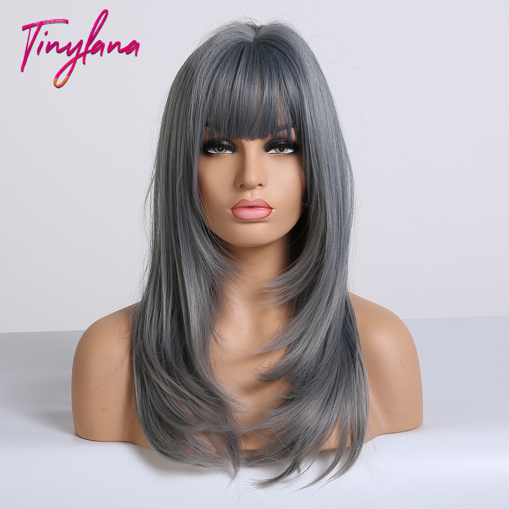 Image 2 - TINY LANA Ash Blue Long straight Hair with Bangs Synthetic Wig for Women Lolita&Cosplay High Temperature Fiber Layered Wigs afroSynthetic None-Lace  Wigs   -
