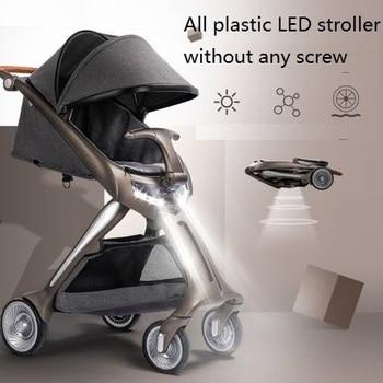babysing all plastic LED light baby stroller,high landscape and portable light weight kinderwagen pram,foldable suitable for newborn