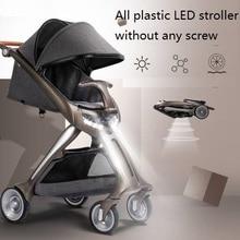 RNZ plastic LED light baby stroller,high landscape portable