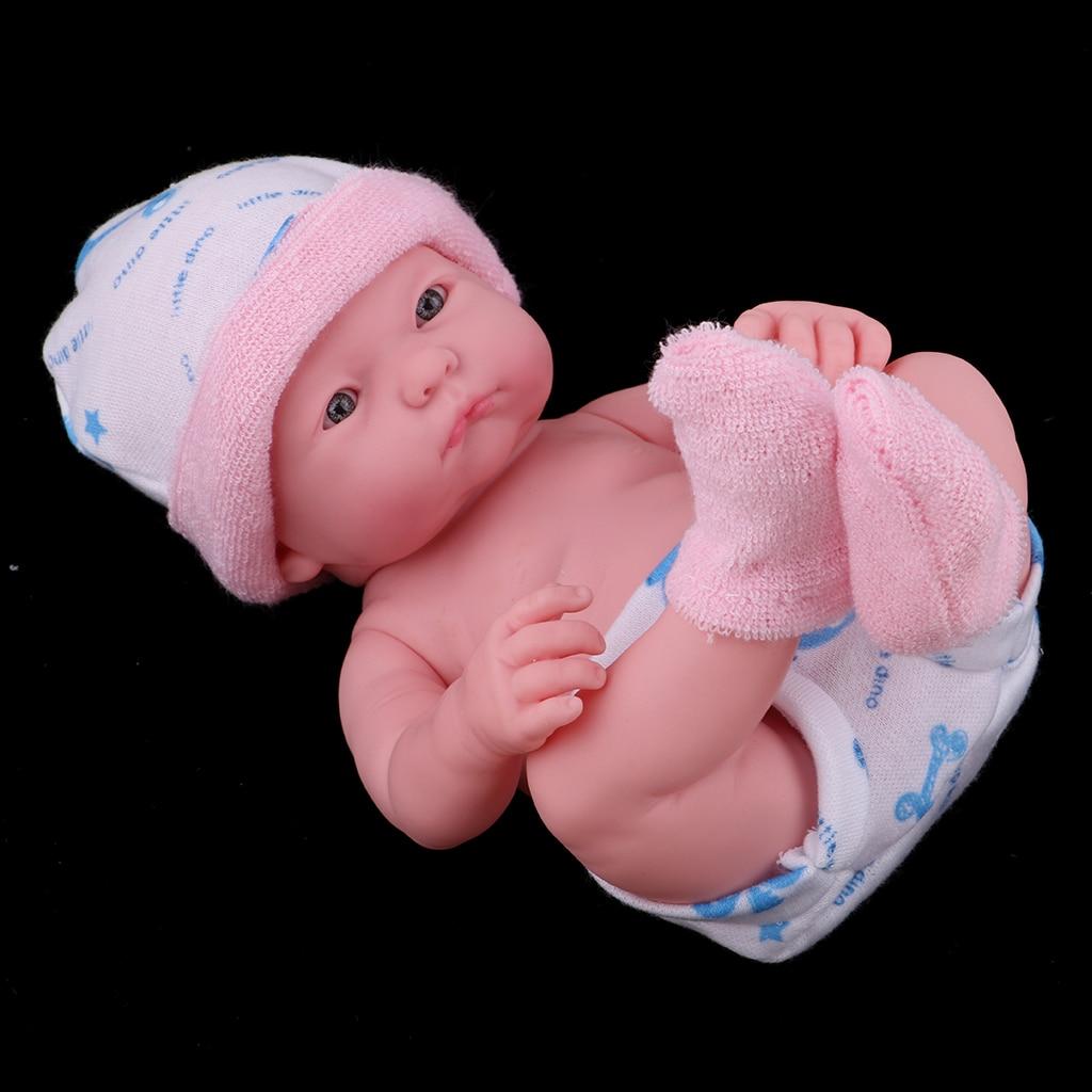 25cm Weiche Silikon Simulation Neugeborenen Baby Puppe in Rosa Kleidung Kinder Geschenk