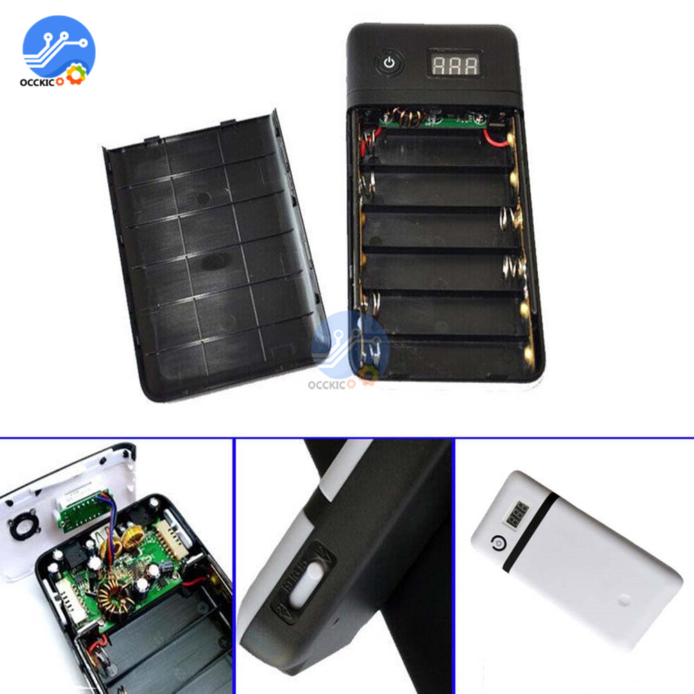 6x18650 Battery Pack DC <font><b>12V</b></font>/15V/16V/19V/21V 3.3A Output 6*<font><b>18650</b></font> Battery <font><b>Power</b></font> <font><b>Bank</b></font> <font><b>Box</b></font> Shell for Mobile Phone Charger Case image
