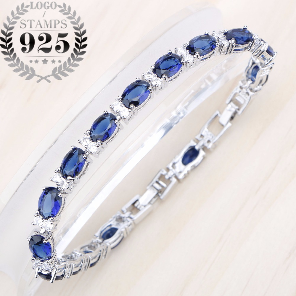 Silver 925 Jewelry Bracelet For Women Blue Cubic Zirconia White Stones Party Accessories Length 20cm Free Gift Box