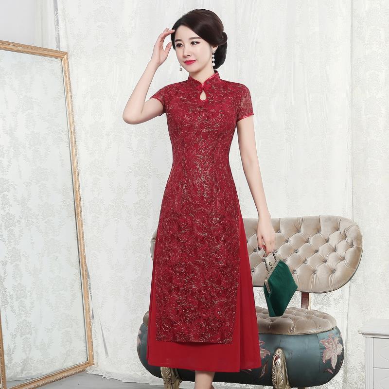 Vestido De Debutante Vintage Dress Bud Cheongsam Short-sleeved Mr Long High A Word Skirt Vented Manufacturers Selling Big Yards