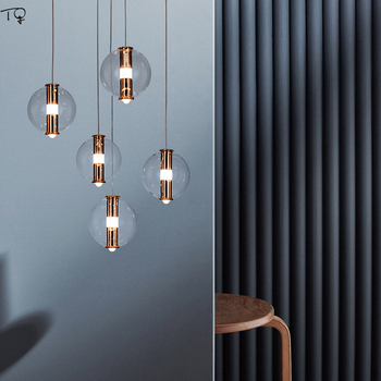 Nordic Post Modern Gold Lustre Transparent Glass Ball Led Pendant Lights Individual Dining Room Restaurant Coffee Living Room