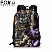 FORUDESIGNS Gothic Cat Print School Backpack for Teenager Girls Student BookBag 16 inch Satchel Travelbag Daypack Mochila 2019