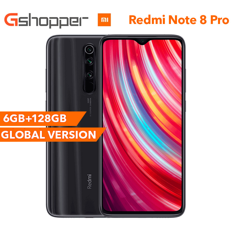 Global Version Xiaomi Redmi Note 8 Pro 6G RAM 128GB ROM Smartphone 64MP Four Rear Camera MTK Helio G90T Octa Core 6.53