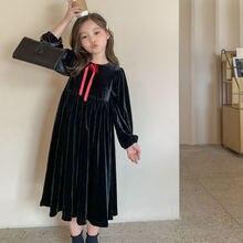 2020 бархатные осенние зимние модные платья для девочек подростков
