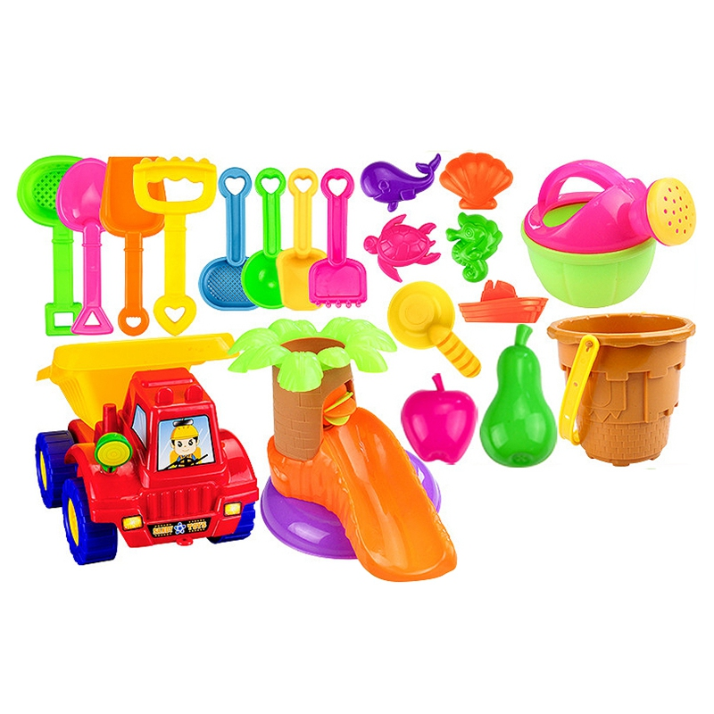 Hot 20Pcs Funny Kids Beach Sand Game Toy Set Shovels Castle Rake Hourglass Bucket Children Beach Play Set Role Play Toy Kit