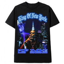Pop Fumaça Moda T Preto Hip Hop Streetwear Masculino T-Shirt Dos Homens Rapper Atender O Woo Rei De Nova York Tops Casual Tee