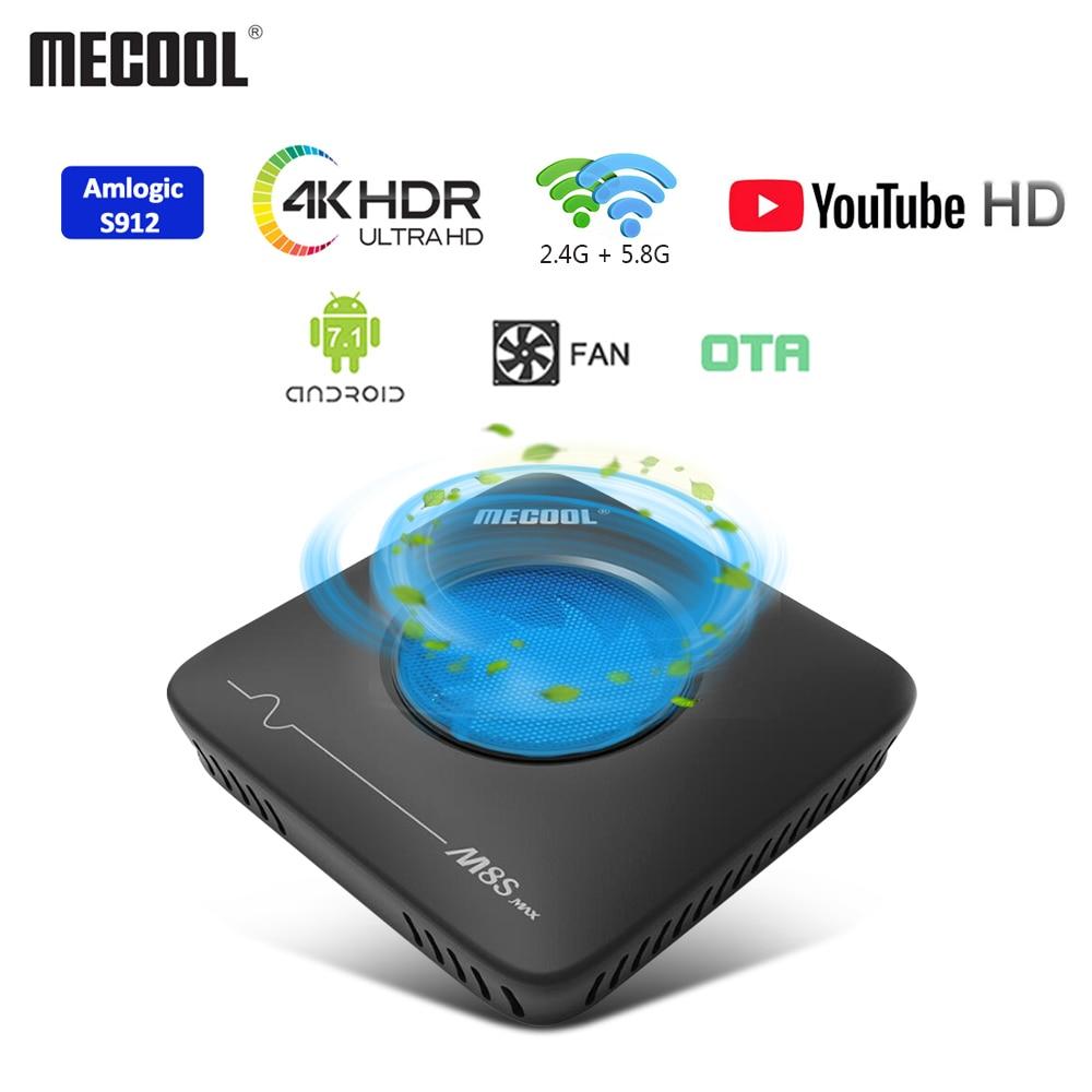 MECOOL M8S Max Amlogic S912 Smart TV Box Android7.1 3GB + 32GB 2.4G 5.8G double WiFi BT4.0 décodeur 4K ultra HD VP9 H.265 TV Box