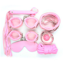 7PCS BDSM Bondage Sex Set Fetish Slave SM Torture Kit Leather Handcuffs Whips Open Mouth Gag Erotic Sex Toys for Couples Game(China)