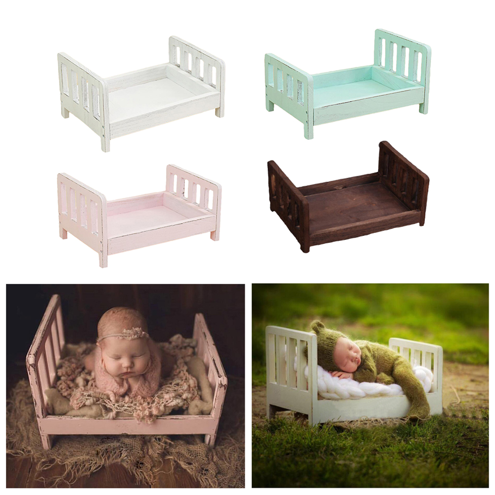 Crib Solid Wood Unpainted Baby Bb Bed Multifunctional Child Newborn Toddler Stitching Bed Photography Props Studio