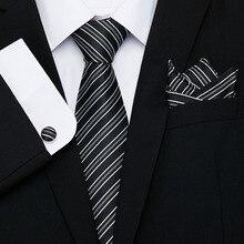 Black Striped Tie Set 100% Silk Paisley Ties For Men Business Wedding Formal Suit Neck Handkerchief Cufflinks Necktie