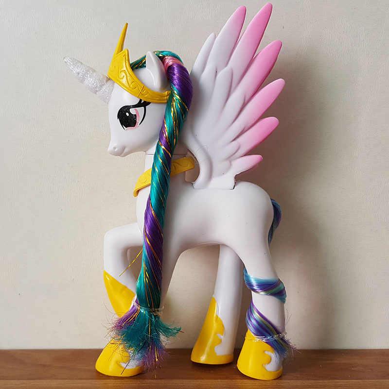Unicorn Sole Della Principessa Grande Luminoso Anime Piccoli Occhi Del Fumetto di Figura Giocattolo del Pvc di Cavallo 14 CENTIMETRI di Alta