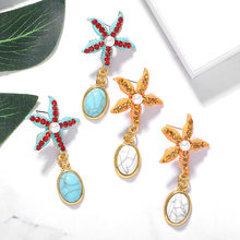 Fashion Women Bohemian Style Blue Starfish Conch Big Circle Pearl Stone Drop Earrings Beach Ocean Stars Statement Boho Earrings(China)