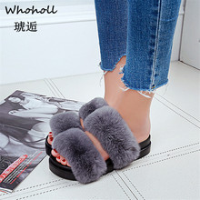 Whoholl Brand 2019 Fluffy Slippers Real FOX Fur Slides Indoor Flip Flops Casual Shoes Woman Raccoon Sandals Vogue Plush Shoe
