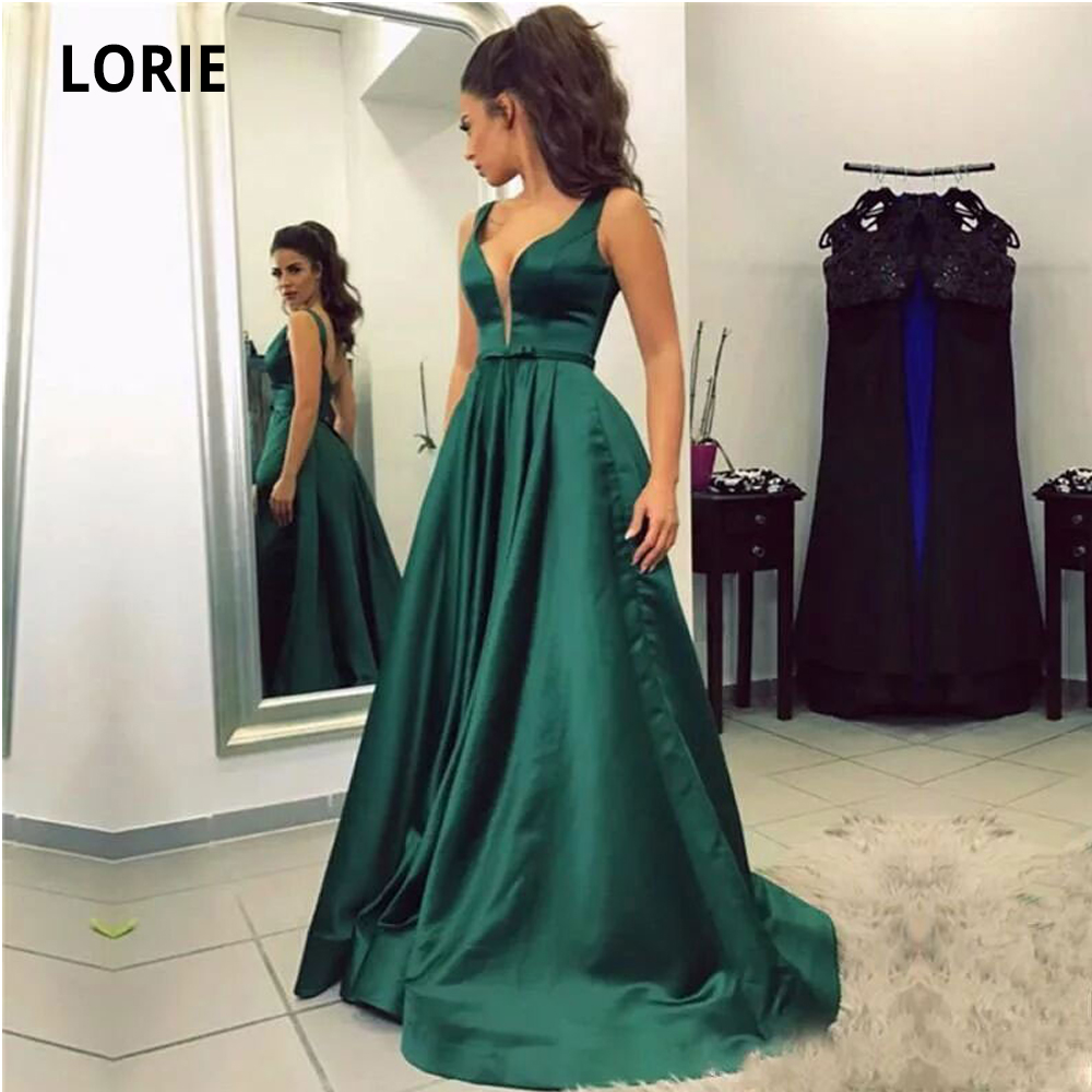 LORIE V-neck Prom Dresses Satin Party Maxys Long Prom Gown Evening Dresses 2020 Sleeveless Open Back Robe De Soiree Plus Size