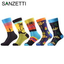 SANZETTI 5 Pairs/Lot New Style Men Casual Combed Cotton Happy Crew Socks Cactus Palm Tree Funny Party Gifts Creative Dress