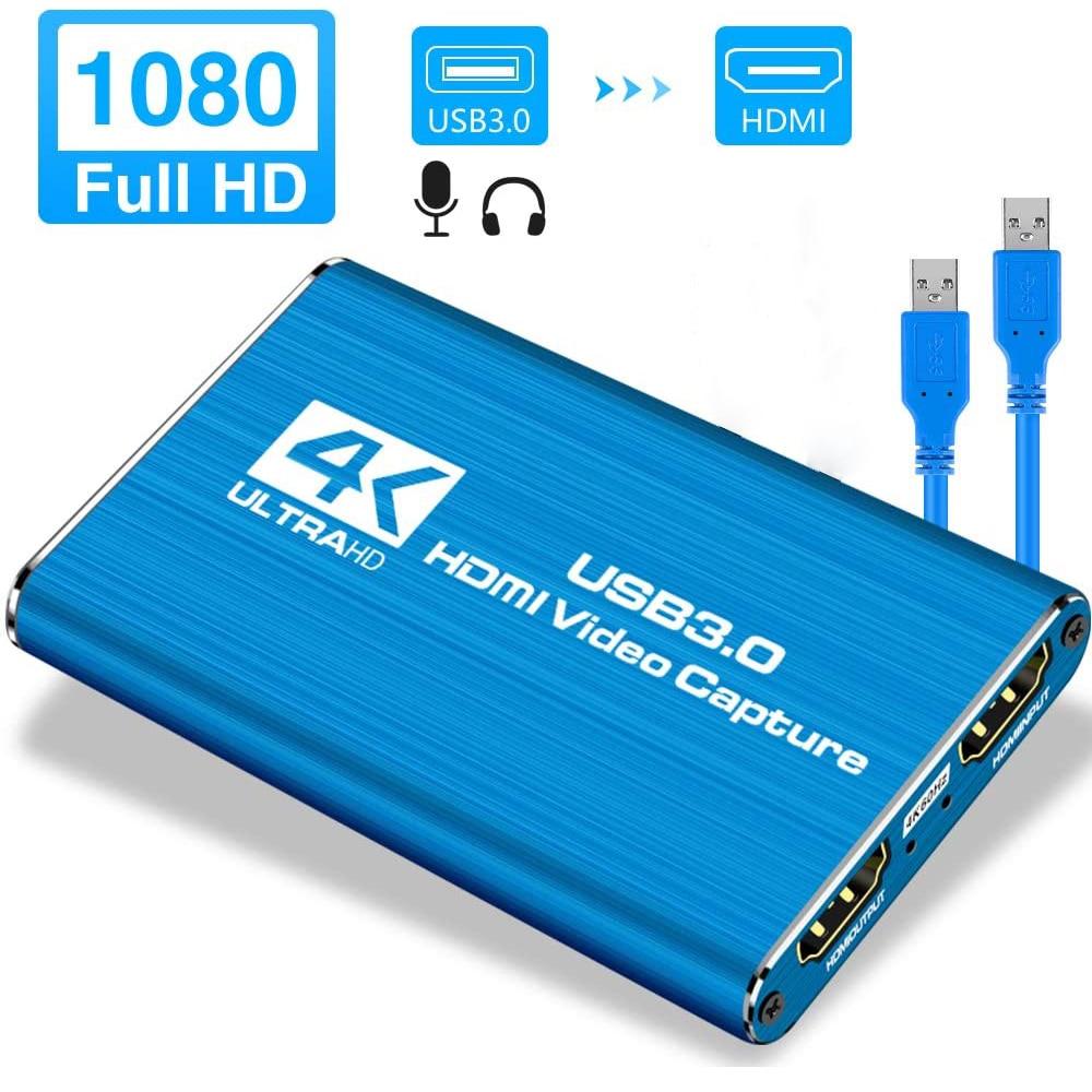 [해외] 미니 비디오 캡처 카드 USB유에스비 2.0 HDMI 비디오 그래버 레코더 박스 PS4 게임 DVD 캠코더 - 미니 비디오 캡처 카드