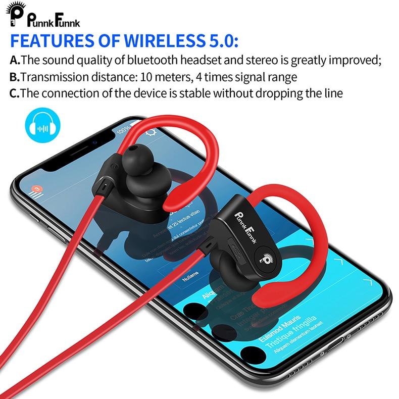 Беспроводные спортивные наушники Bluetooth 5,0, водонепроницаемые Ipx4 басовые стереонаушники с микрофоном, наушники для телефона PunnkFunnk