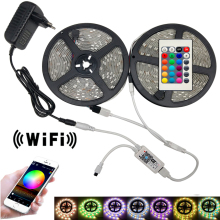 RGB led strip light Flexible DC 12V SMD 5050 RGBW RGB Led Strip 5m 10m 15m Tape Diode + WiFi Music Controller Adapter Stripe Set